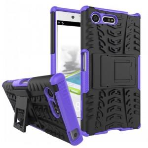 Противоударный двухкомпонентный силиконовый матовый непрозрачный чехол с поликарбонатными вставками экстрим защиты с встроенной ножкой-подставкой для Sony Xperia X Compact  Фиолетовый