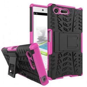 Противоударный двухкомпонентный силиконовый матовый непрозрачный чехол с поликарбонатными вставками экстрим защиты с встроенной ножкой-подставкой для Sony Xperia X Compact  Розовый