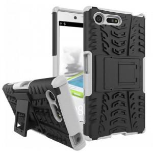 Противоударный двухкомпонентный силиконовый матовый непрозрачный чехол с поликарбонатными вставками экстрим защиты с встроенной ножкой-подставкой для Sony Xperia X Compact