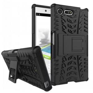 Противоударный двухкомпонентный силиконовый матовый непрозрачный чехол с поликарбонатными вставками экстрим защиты с встроенной ножкой-подставкой для Sony Xperia X Compact  Черный