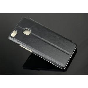 Чехол горизонтальная книжка на пластиковой основе для Huawei P9 Lite  Черный