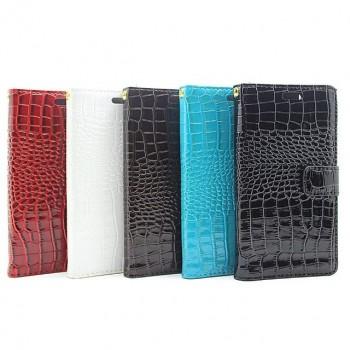 Чехол портмоне подставка текстура Крокодил на пластиковой основе на магнитной защелке для Huawei P9 Lite