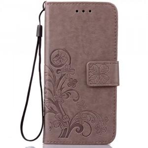 Чехол портмоне подставка текстура Узоры на силиконовой основе на магнитной защелке для Huawei P9 Lite Серый