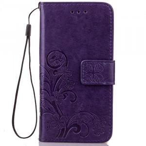 Чехол портмоне подставка текстура Узоры на силиконовой основе на магнитной защелке для Huawei P9 Lite Фиолетовый