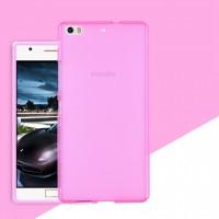 Силиконовый матовый полупрозрачный чехол для Philips X818  Розовый
