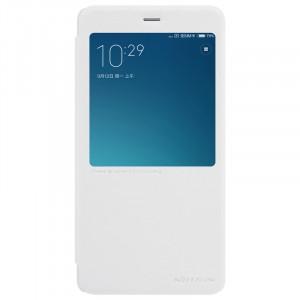 Чехол горизонтальная книжка на пластиковой нескользящей премиум основе с окном вызова для Xiaomi RedMi Note 4  Белый