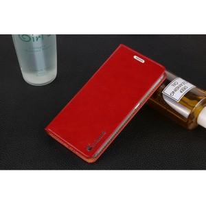 Вощеный чехол горизонтальная книжка подставка на силиконовой основе на присосках для Xiaomi RedMi Note 4 Красный