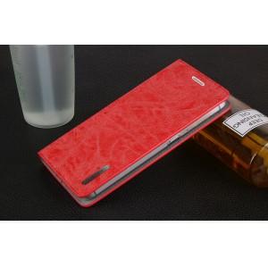 Винтажный чехол горизонтальная книжка подставка с отсеком для карт на присосках для Xiaomi RedMi Note 4 Красный