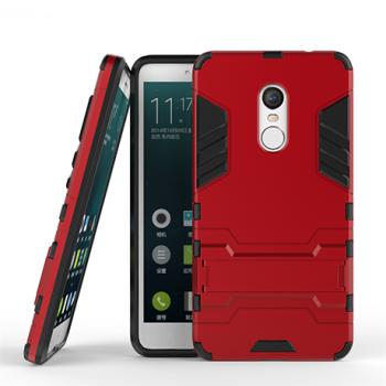 Противоударный двухкомпонентный силиконовый матовый непрозрачный чехол с поликарбонатными вставками экстрим защиты с встроенной ножкой-подставкой для Xiaomi RedMi Note 4 Красный