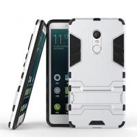 Противоударный двухкомпонентный силиконовый матовый непрозрачный чехол с поликарбонатными вставками экстрим защиты с встроенной ножкой-подставкой для Xiaomi RedMi Note 4 Белый