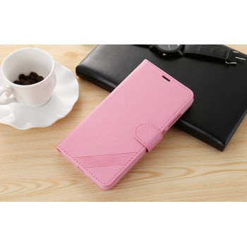 Чехол портмоне подставка текстура Линии на силиконовой основе на магнитной защелке для Xiaomi RedMi Note 4  Розовый