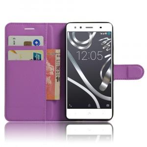 Чехол портмоне подставка на силиконовой основе на магнитной защелке для BQ Aquaris X5 Plus Фиолетовый