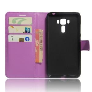 Чехол портмоне подставка на силиконовой основе на магнитной защелке для Asus ZenFone 3 Laser Фиолетовый