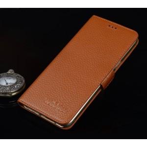 Кожаный чехол портмоне подставка (премиум нат. кожа) с крепежной застежкой для Asus ZenFone 3 5.5 Бежевый