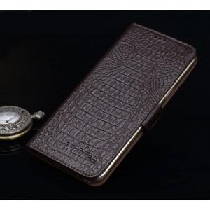 Кожаный чехол портмоне подставка (премиум нат. кожа крокодила) с крепежной застежкой для Asus ZenFone 3 5.5