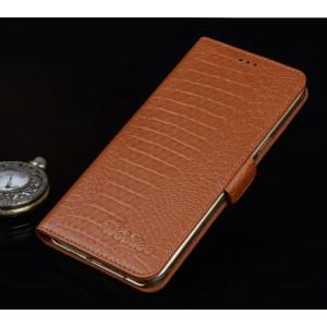 Кожаный чехол портмоне подставка (премиум нат. кожа крокодила) с крепежной застежкой для Asus ZenFone 3 5.5 Бежевый