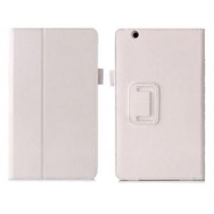 Чехол книжка подставка с рамочной защитой экрана, крепежом для стилуса, отсеком для карт и поддержкой кисти для Huawei MediaPad M3  Белый