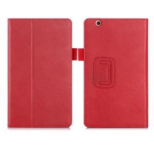 Чехол книжка подставка с рамочной защитой экрана, крепежом для стилуса, отсеком для карт и поддержкой кисти для Huawei MediaPad M3  Красный