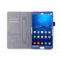 Чехол книжка подставка с рамочной защитой экрана, крепежом для стилуса, отсеком для карт и поддержкой кисти для Huawei MediaPad M3  Черный
