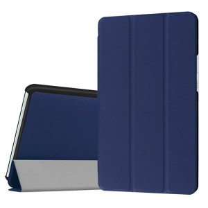Сегментарный чехол книжка подставка на непрозрачной поликарбонатной основе для Huawei MediaPad M3 Синий