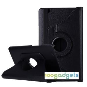 Роторный чехол книжка подставка на непрозрачной поликарбонатной основе для Huawei MediaPad M3  Черный