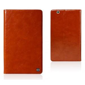 Вощеный чехол книжка подставка на полупрозрачной силиконовой основе для Huawei MediaPad M3 Коричневый