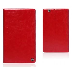 Вощеный чехол книжка подставка на полупрозрачной силиконовой основе для Huawei MediaPad M3 Красный