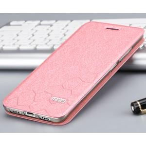 Чехол горизонтальная книжка подставка текстура Соты на силиконовой основе для Xiaomi Mi5S  Розовый