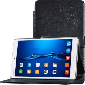 Чехол книжка подставка текстура Узоры на непрозрачной поликарбонатной основе с крепежом для стилуса для Huawei MediaPad M3 Черный