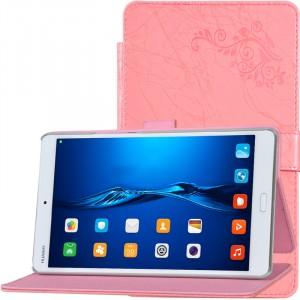 Чехол книжка подставка текстура Узоры на непрозрачной поликарбонатной основе с крепежом для стилуса для Huawei MediaPad M3 Розовый