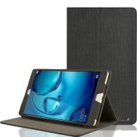 Чехол книжка подставка текстура Узоры с рамочной защитой экрана и тканевым покрытием для Huawei MediaPad M3 Черный