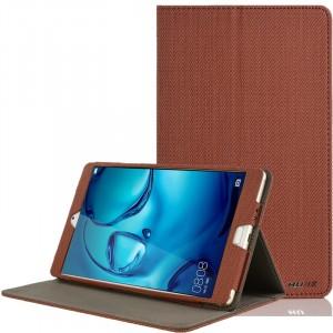 Чехол книжка подставка текстура Узоры с рамочной защитой экрана и тканевым покрытием для Huawei MediaPad M3 Коричневый