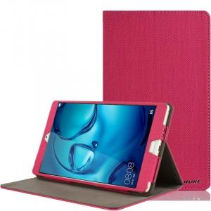 Чехол книжка подставка текстура Узоры с рамочной защитой экрана и тканевым покрытием для Huawei MediaPad M3 Пурпурный
