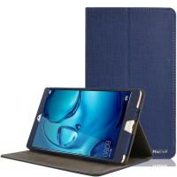 Чехол книжка подставка текстура Узоры с рамочной защитой экрана и тканевым покрытием для Huawei MediaPad M3 Синий