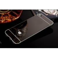Двухкомпонентный чехол c металлическим бампером с поликарбонатной накладкой и зеркальным покрытием для Xiaomi Mi5S  Черный