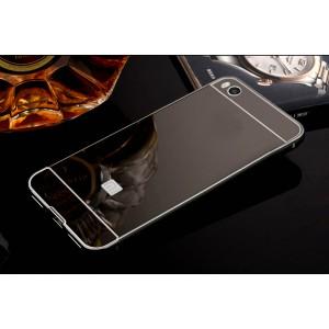 Двухкомпонентный чехол c металлическим бампером с поликарбонатной накладкой и зеркальным покрытием для Xiaomi Mi5S