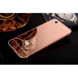 Двухкомпонентный чехол c металлическим бампером с поликарбонатной накладкой и зеркальным покрытием для Xiaomi Mi5S  Розовый