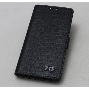 Кожаный чехол горизонтальная книжка подставка (премиум нат. кожа крокодила) с крепежной застежкой для ZTE Axon 7  Черный