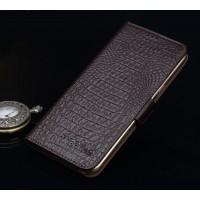 Кожаный чехол портмоне подставка (премиум нат. кожа крокодила) с крепежной застежкой для Asus ZenFone 3 Ultra Коричневый