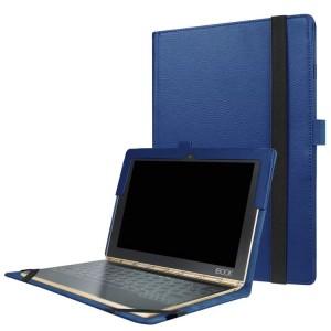 Чехол книжка с рамочной защитой экрана и крепежом для стилуса для Lenovo Yoga Book Синий