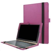 Чехол книжка с рамочной защитой экрана и крепежом для стилуса для Lenovo Yoga Book Фиолетовый