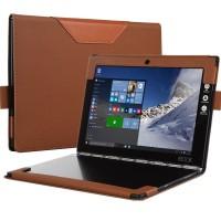 Кожаный чехол книжка с рамочной защитой экрана, крепежом для стилуса и тканевым покрытием для Lenovo Yoga Book Коричневый