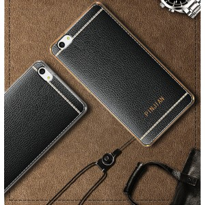 Силиконовый матовый непрозрачный чехол с текстурным покрытием Кожа для Meizu U20  Черный