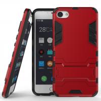 Противоударный двухкомпонентный силиконовый матовый непрозрачный чехол с поликарбонатными вставками экстрим защиты с встроенной ножкой-подставкой для Meizu U10  Красный