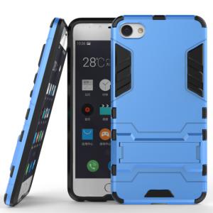 Противоударный двухкомпонентный силиконовый матовый непрозрачный чехол с поликарбонатными вставками экстрим защиты с встроенной ножкой-подставкой для Meizu U10  Голубой
