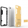 Противоударный двухкомпонентный силиконовый матовый непрозрачный чехол с поликарбонатными вставками экстрим защиты с встроенной ножкой-подставкой для Meizu U10
