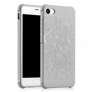 Силиконовый матовый непрозрачный чехол с текстурным покрытием Дракон для Meizu U10  Белый