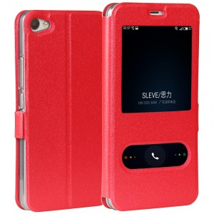 Чехол горизонтальная книжка подставка на силиконовой основе с окном вызова и свайпом на магнитной защелке для Meizu U10 Красный