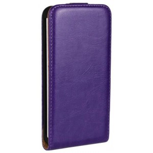 Чехол вертикальная книжка на пластиковой основе на магнитной защелке для HTC One (M7) Dual SIM  Фиолетовый