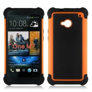Противоударный двухкомпонентный силиконовый матовый непрозрачный чехол с поликарбонатными вставками экстрим защиты для HTC One (M7) Dual SIM Оранжевый